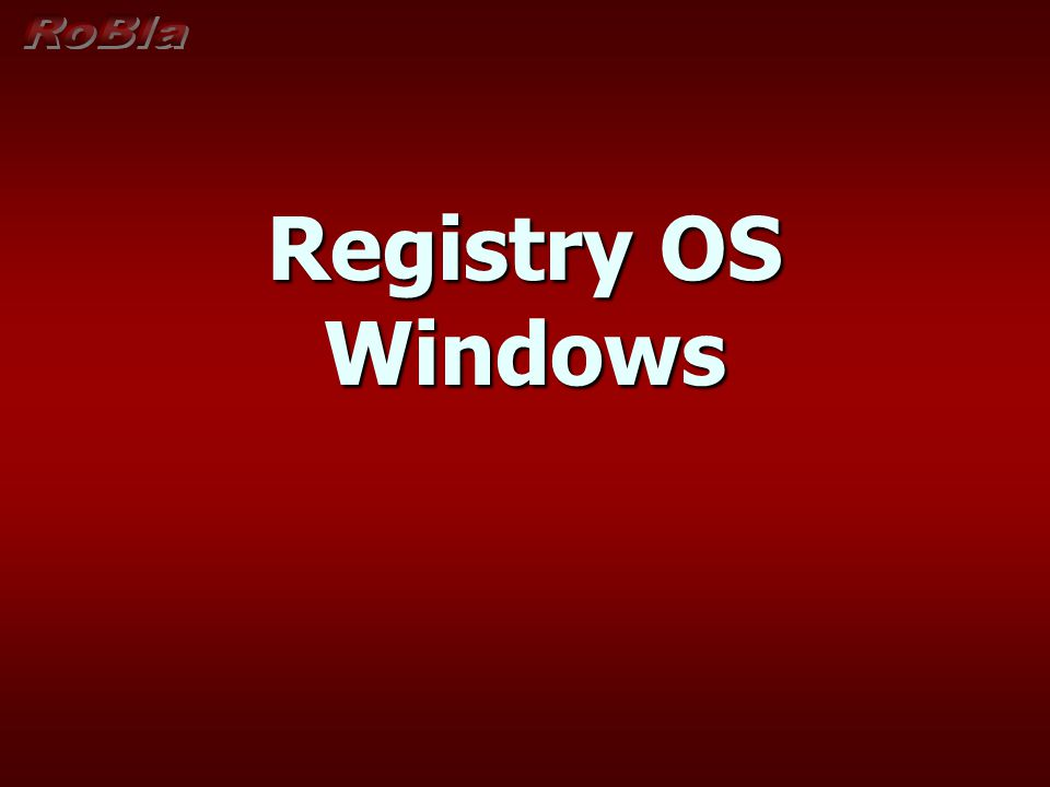 Registry OS Windows