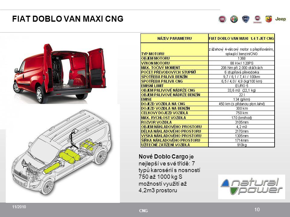 11/2010 CNG 10 FIAT DOBLO VAN MAXI CNG Nové Doblo Cargo je nejlepší ve své třídě: 7 typů karosérií s nosností 750 až 1000 kg S možností využití až 4,2m3 prostoru