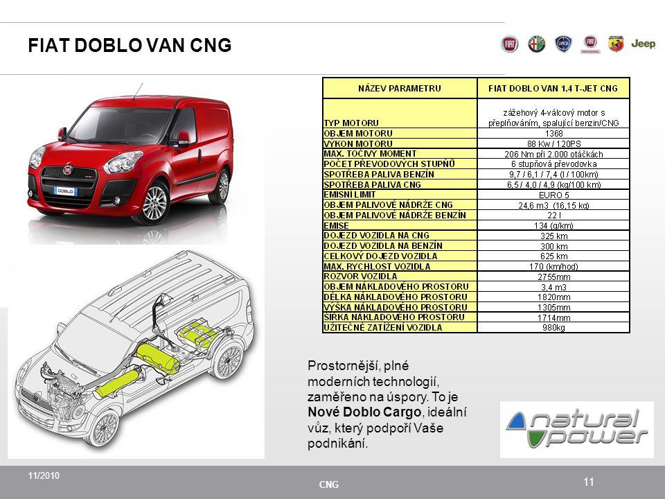 11/2010 CNG 11 FIAT DOBLO VAN CNG Prostornější, plné moderních technologií, zaměřeno na úspory.