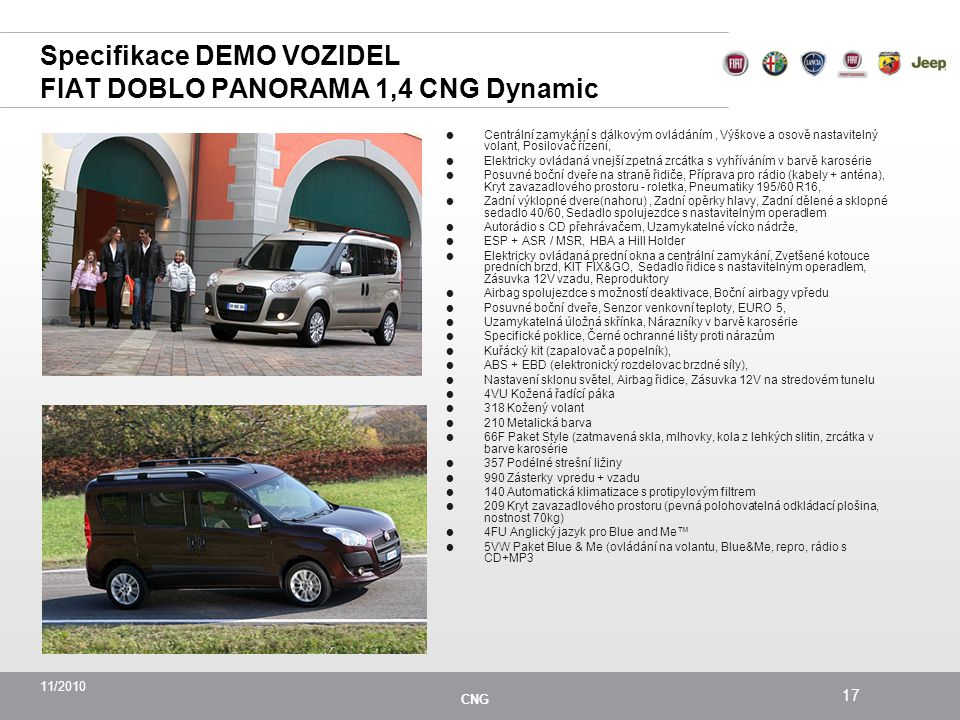 11/2010 CNG 17 Specifikace DEMO VOZIDEL FIAT DOBLO PANORAMA 1,4 CNG Dynamic  Centrální zamykání s dálkovým ovládáním, Výškove a osově nastavitelný volant, Posilovač řízení,  Elektricky ovládaná vnejší zpetná zrcátka s vyhříváním v barvě karosérie  Posuvné boční dveře na straně řidiče, Příprava pro rádio (kabely + anténa), Kryt zavazadlového prostoru - roletka, Pneumatiky 195/60 R16,  Zadní výklopné dvere(nahoru), Zadní opěrky hlavy, Zadní dělené a sklopné sedadlo 40/60, Sedadlo spolujezdce s nastavitelným operadlem  Autorádio s CD přehrávačem, Uzamykatelné vícko nádrže,  ESP + ASR / MSR, HBA a Hill Holder  Elektricky ovládaná prední okna a centrální zamykání, Zvetšené kotouce predních brzd, KIT FIX&GO, Sedadlo řidice s nastavitelným operadlem, Zásuvka 12V vzadu, Reproduktory  Airbag spolujezdce s možností deaktivace, Boční airbagy vpředu  Posuvné boční dveře, Senzor venkovní teploty, EURO 5,  Uzamykatelná úložná skřínka, Nárazníky v barvě karosérie  Specifické poklice, Černé ochranné lišty proti nárazům  Kuřácký kit (zapalovač a popelník),  ABS + EBD (elektronický rozdelovac brzdné síly),  Nastavení sklonu světel, Airbag řidice, Zásuvka 12V na stredovém tunelu  4VU Kožená řadící páka  318 Kožený volant  210 Metalická barva  66F Paket Style (zatmavená skla, mlhovky, kola z lehkých slitin, zrcátka v barve karosérie  357 Podélné strešní ližiny  990 Zásterky vpredu + vzadu  140 Automatická klimatizace s protipylovým filtrem  209 Kryt zavazadlového prostoru (pevná polohovatelná odkládací plošina, nostnost 70kg)  4FU Anglický jazyk pro Blue and Me™  5VW Paket Blue & Me (ovládání na volantu, Blue&Me, repro, rádio s CD+MP3