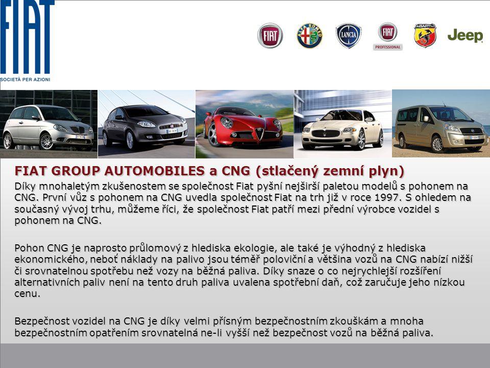 FIAT GROUP AUTOMOBILES a CNG (stlačený zemní plyn) Díky mnohaletým zkušenostem se společnost Fiat pyšní nejširší paletou modelů s pohonem na CNG.