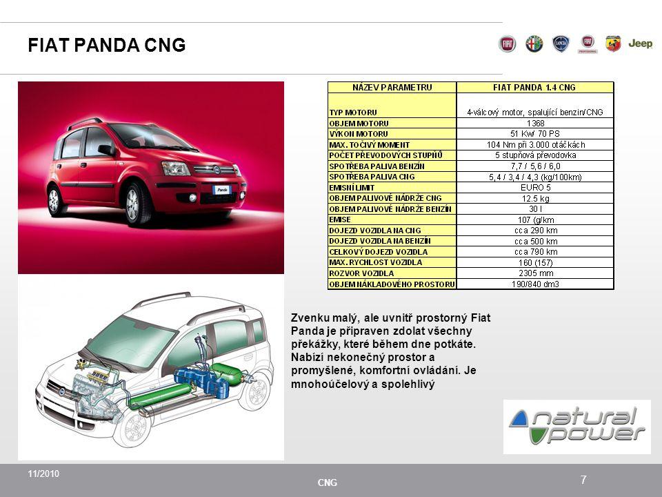 11/2010 CNG 7 FIAT PANDA CNG Zvenku malý, ale uvnitř prostorný Fiat Panda je připraven zdolat všechny překážky, které během dne potkáte.