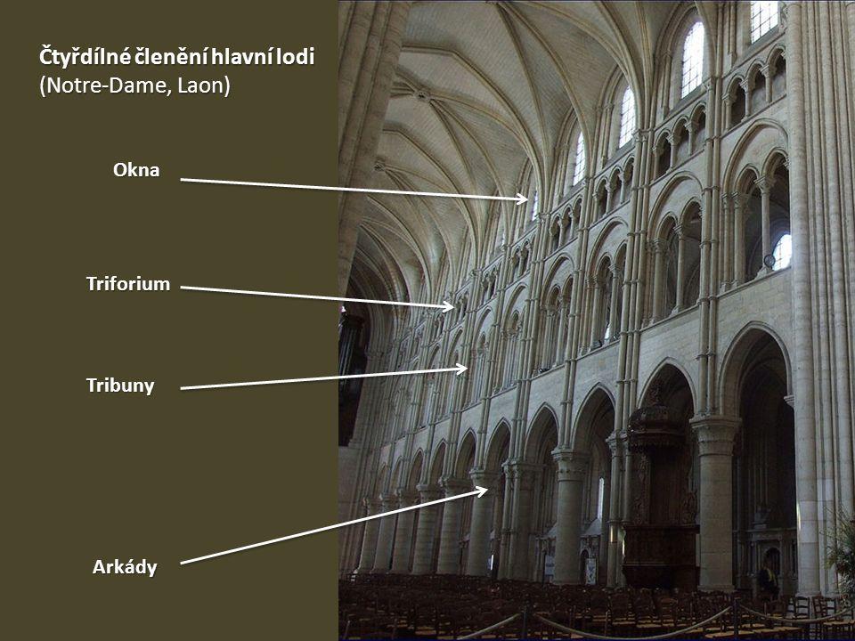 Čtyřdílné členění hlavní lodi (Notre-Dame, Laon) Arkády Tribuny Triforium Okna