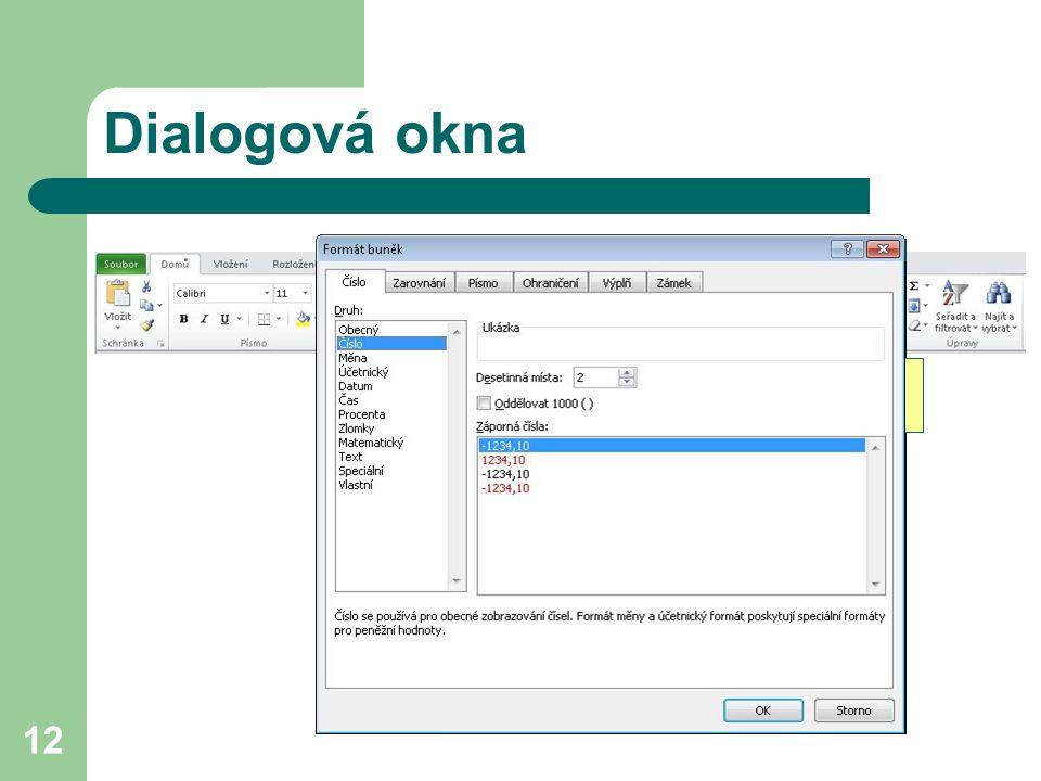 12 Dialogová okna rozbalovací tlačítko dialogového okna