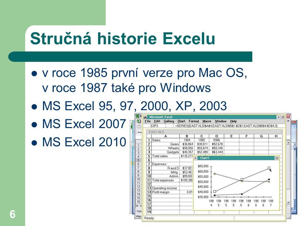 6 Stručná historie Excelu  v roce 1985 první verze pro Mac OS, v roce 1987 také pro Windows  MS Excel 95, 97, 2000, XP, 2003  MS Excel 2007  MS Ex