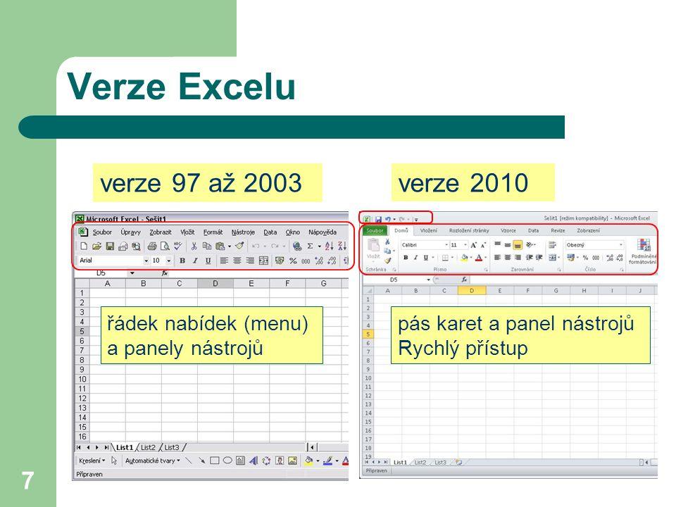 8 Prostředí MS Excel 2010 titulkový pruh panel nástrojů Rychlý přístup pás karet (Ribbon menu) svislý posuvník vodorovný posuvníkouška listů stavový řádek pole názvůřádek vzorců aktivní buňka jezdec lupy nabídka Soubor