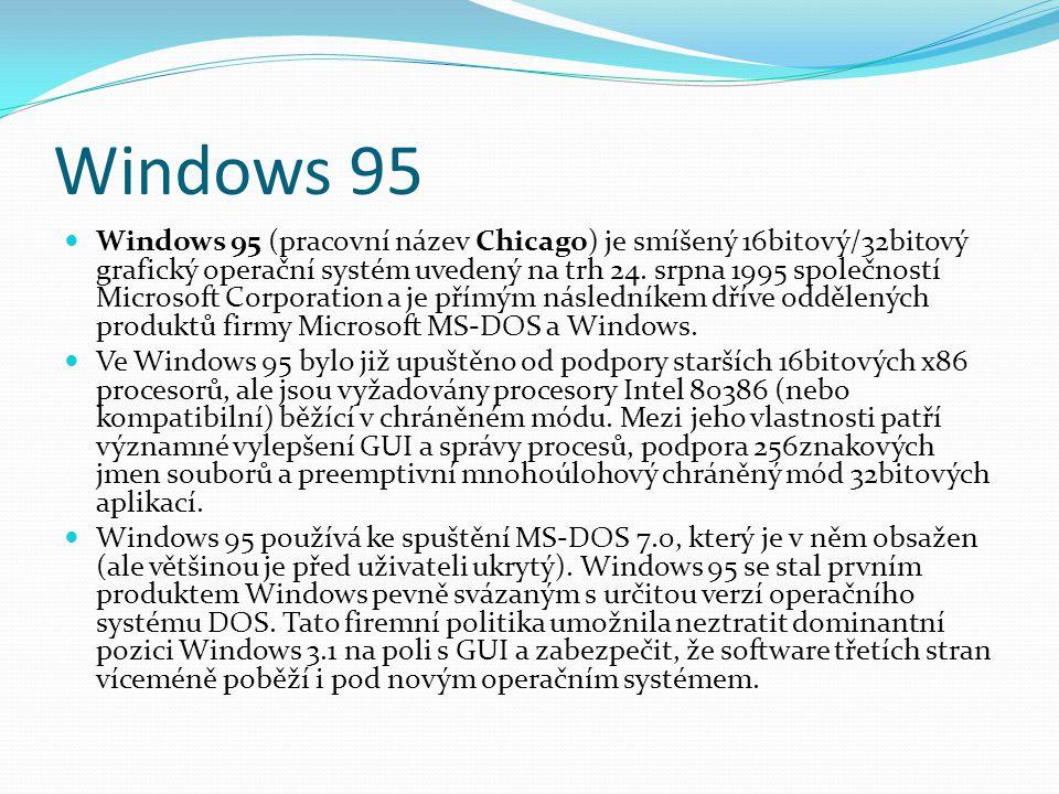 Windows 95  Windows 95 (pracovní název Chicago) je smíšený 16bitový/32bitový grafický operační systém uvedený na trh 24. srpna 1995 společností Micro