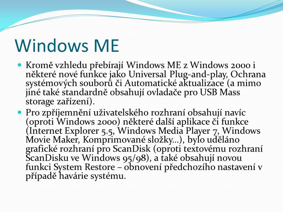 Windows ME  Kromě vzhledu přebírají Windows ME z Windows 2000 i některé nové funkce jako Universal Plug-and-play, Ochrana systémových souborů či Auto