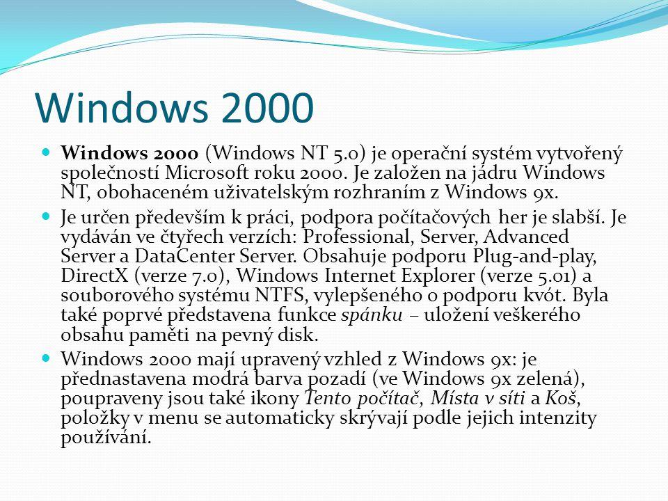 Windows 2000  Windows 2000 (Windows NT 5.0) je operační systém vytvořený společností Microsoft roku 2000. Je založen na jádru Windows NT, obohaceném