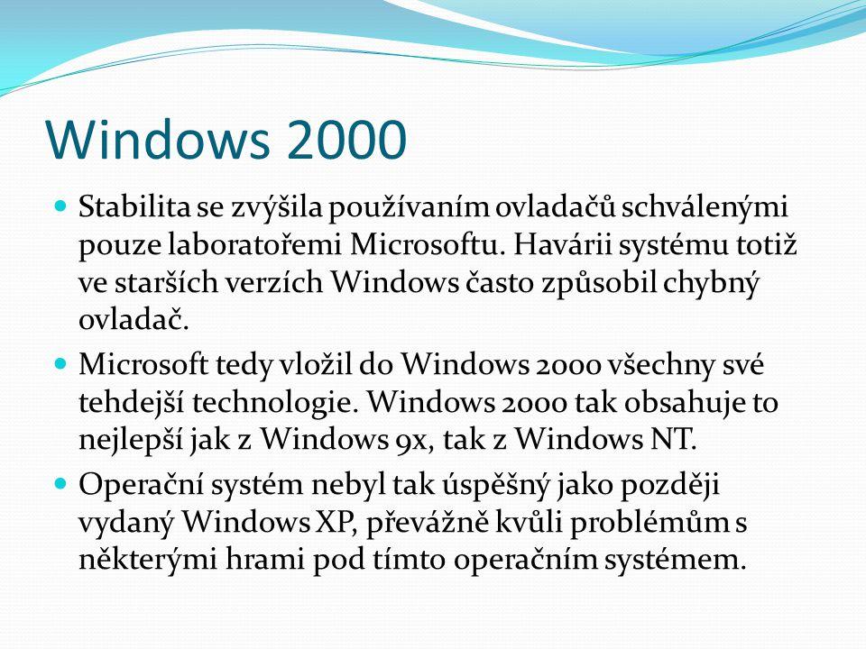 Windows 2000  Stabilita se zvýšila používaním ovladačů schválenými pouze laboratořemi Microsoftu. Havárii systému totiž ve starších verzích Windows č
