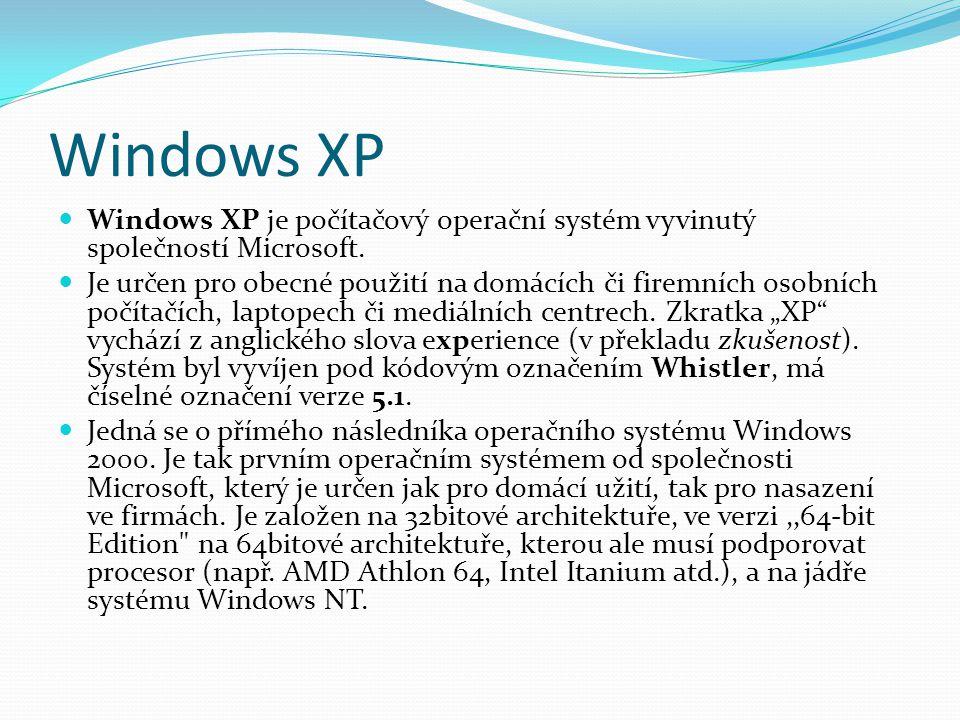 Windows XP  Windows XP je počítačový operační systém vyvinutý společností Microsoft.  Je určen pro obecné použití na domácích či firemních osobních