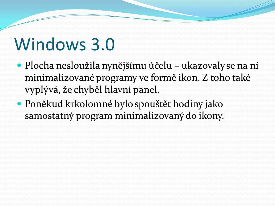 Windows 3.0  Plocha nesloužila nynějšímu účelu – ukazovaly se na ní minimalizované programy ve formě ikon. Z toho také vyplývá, že chyběl hlavní pane