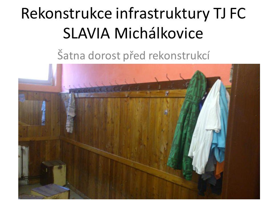 Rekonstrukce infrastruktury TJ FC SLAVIA Michálkovice Šatna dorost před rekonstrukcí