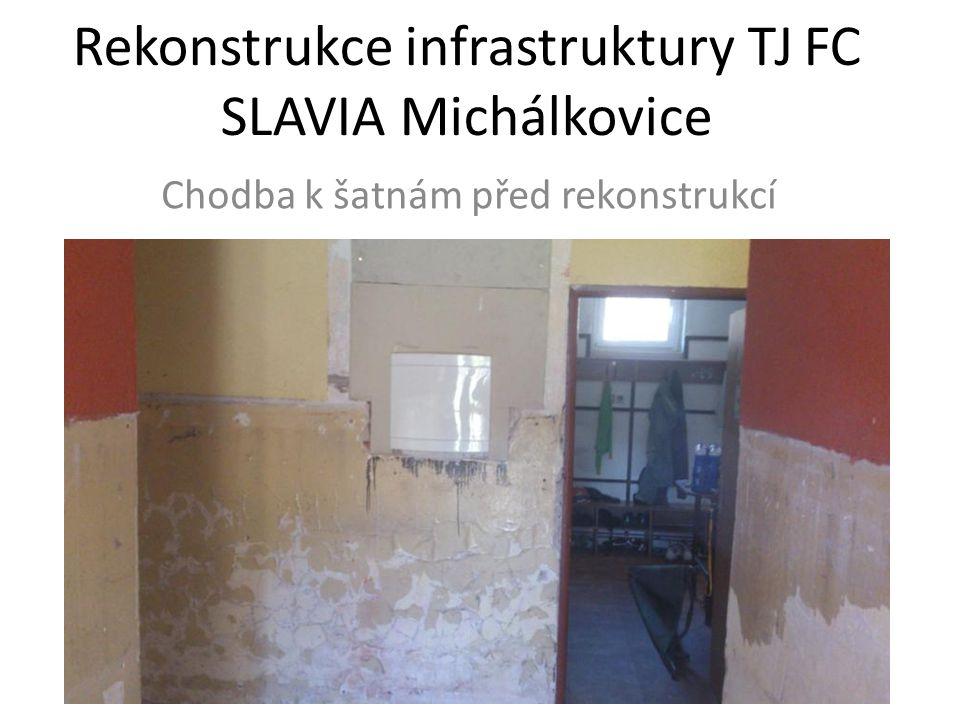 Rekonstrukce infrastruktury TJ FC SLAVIA Michálkovice Chodba k šatnám před rekonstrukcí