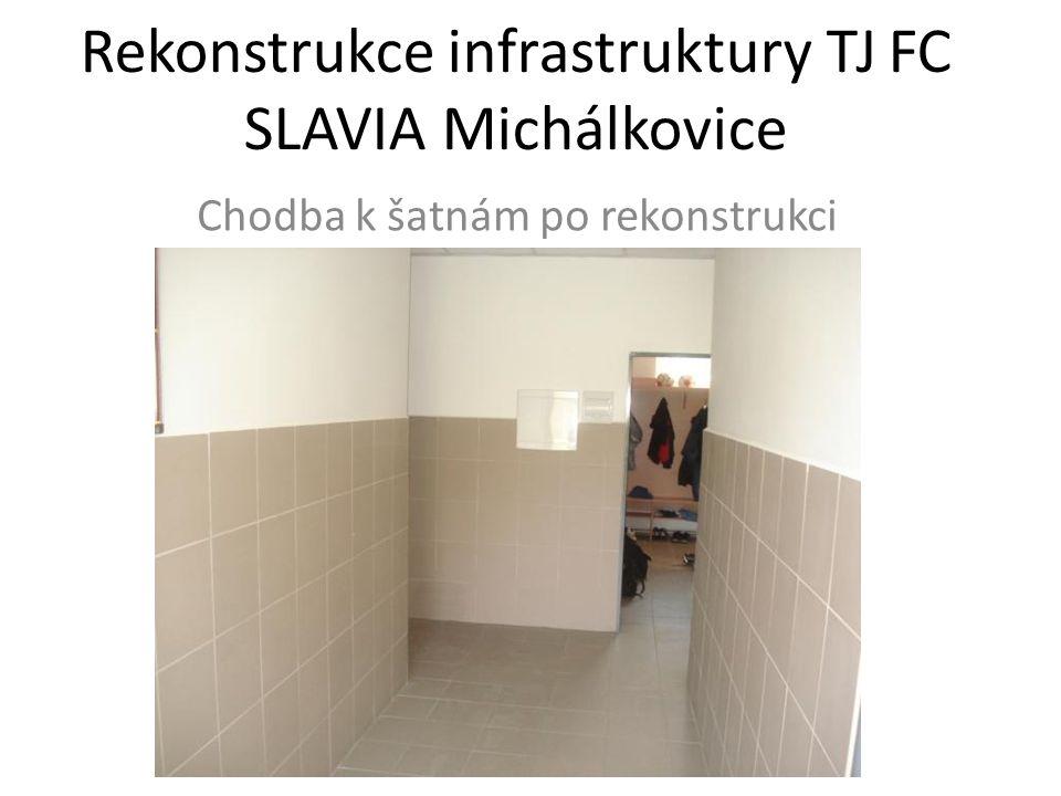 Rekonstrukce infrastruktury TJ FC SLAVIA Michálkovice Chodba k šatnám po rekonstrukci