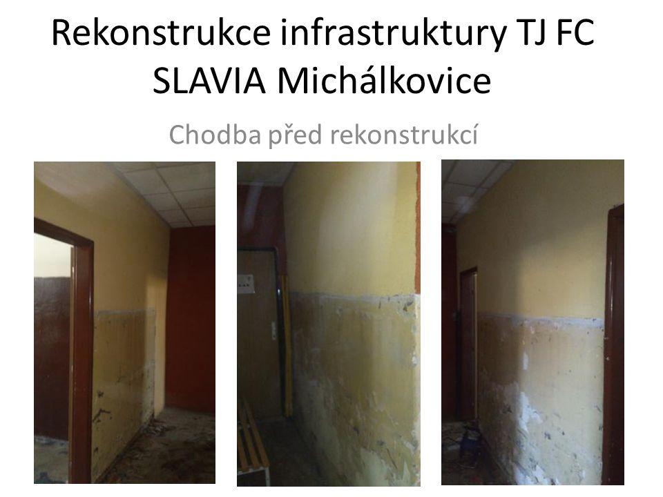 Rekonstrukce infrastruktury TJ FC SLAVIA Michálkovice Chodba před rekonstrukcí