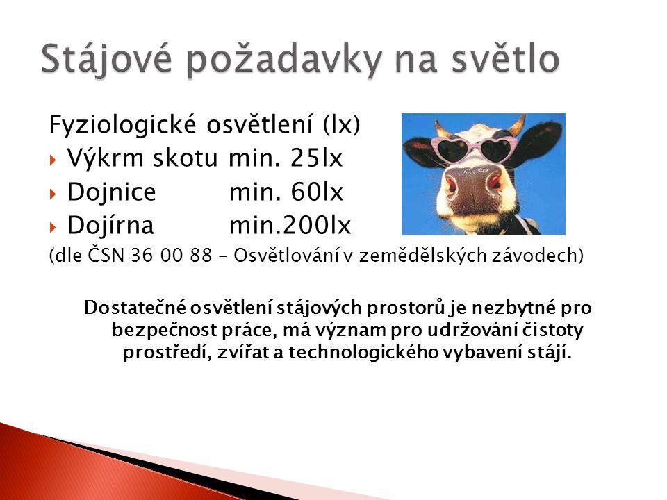 Fyziologické osvětlení (lx)  Výkrm skotu min.25lx  Dojnice min.