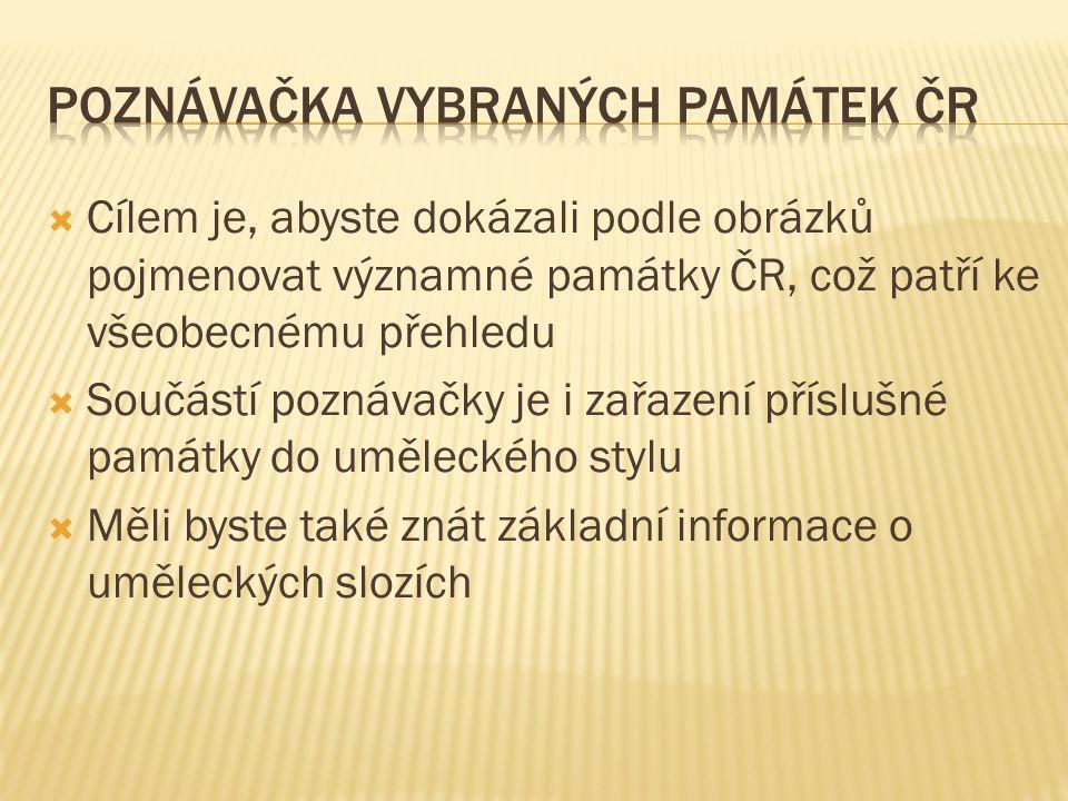  Cílem je, abyste dokázali podle obrázků pojmenovat významné památky ČR, což patří ke všeobecnému přehledu  Součástí poznávačky je i zařazení příslu