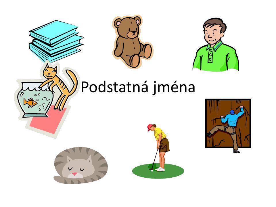 Podstatná jména jsou názvy osob, zvířat, věcí, vlastností a dějů • Osoby – maminka, prodavač, učitel, kominík, chlapec, miminko, zlosyn, lektor, vynálezce • Zvířata – lev, pejsek, koně, myšky, býk, mravenci, kočka, slepice, kobylka, orel • Věci - pouzdro, růže, lavice, židle, okna, dům • Vlastnosti – rychlost, veselost, náladovost, pýcha, hloupost, chytrost, zdvořilost • Děj - psaní, počítání, chůze, běh, čištění, hod, opisování, rýsování, skok, malování