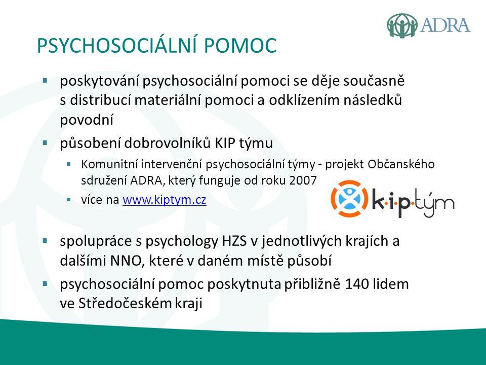 PSYCHOSOCIÁLNÍ POMOC  poskytování psychosociální pomoci se děje současně s distribucí materiální pomoci a odklízením následků povodní  působení dobr