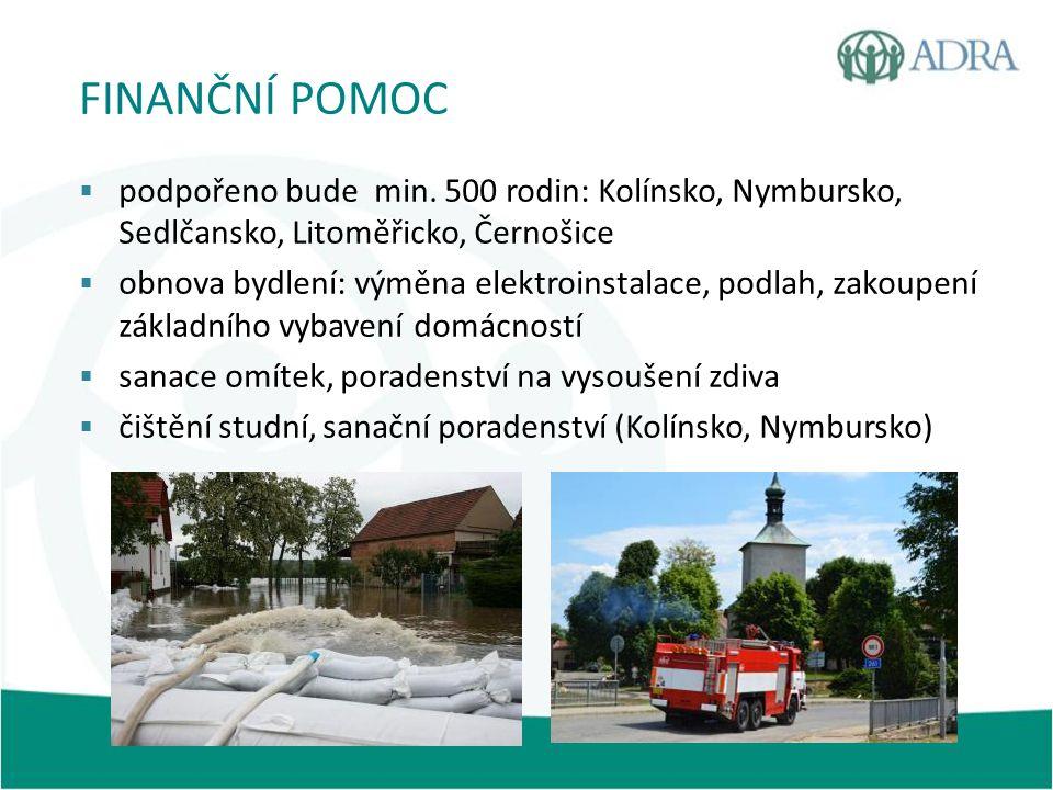 FINANČNÍ POMOC  podpořeno bude min. 500 rodin: Kolínsko, Nymbursko, Sedlčansko, Litoměřicko, Černošice  obnova bydlení: výměna elektroinstalace, pod