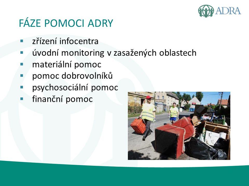  zasaženo 133 domů  ADRA - pomoc v 17 vesnicích  monitoring v zasažených oblastech  zřízení skladu  rozvoz materiální pomoci  zapůjčení 160 vysoušečů  psychosociální pomoc NYMBURSKO A KOLÍNSKO