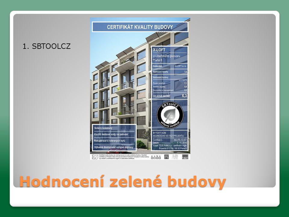 Hodnocení zelené budovy 1. SBTOOLCZ