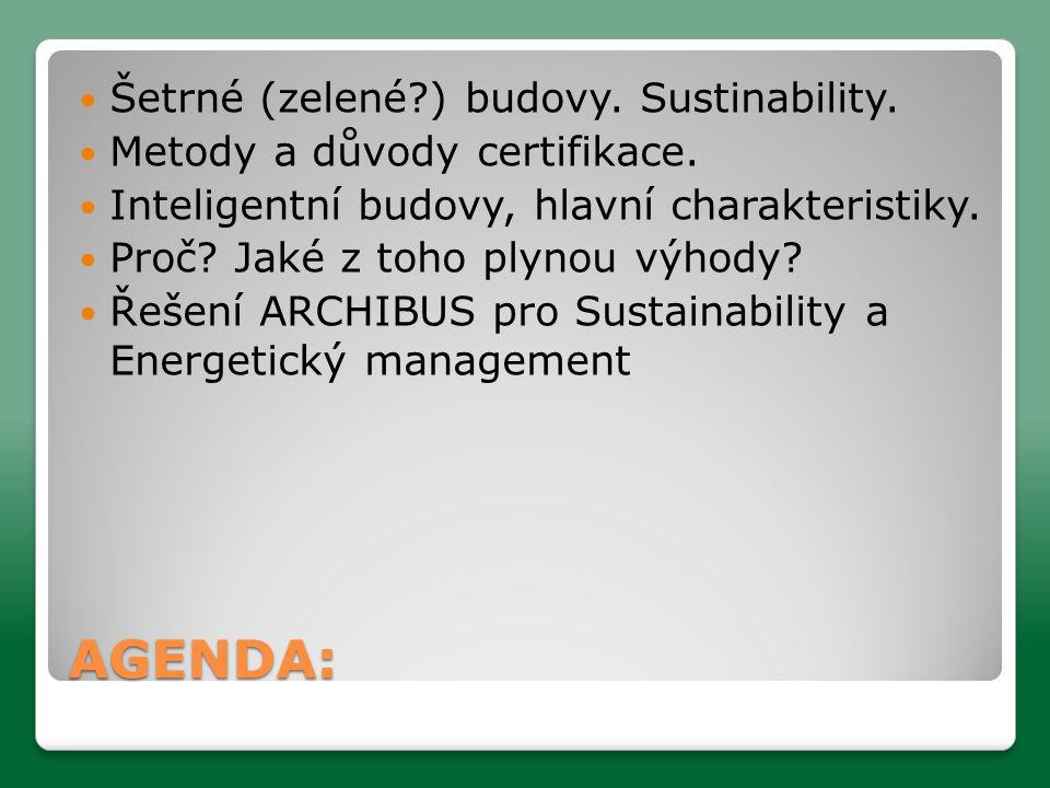 AGENDA:  Šetrné (zelené?) budovy.Sustinability.  Metody a důvody certifikace.