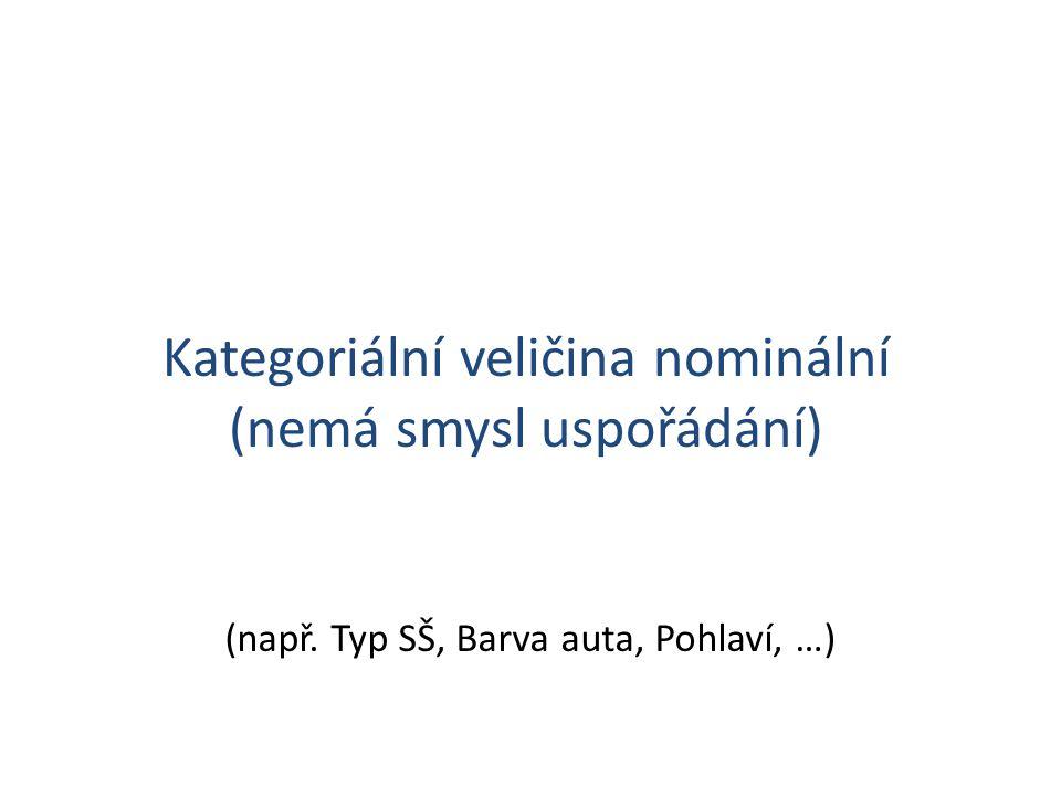 Kategoriální veličina nominální (nemá smysl uspořádání) (např. Typ SŠ, Barva auta, Pohlaví, …)