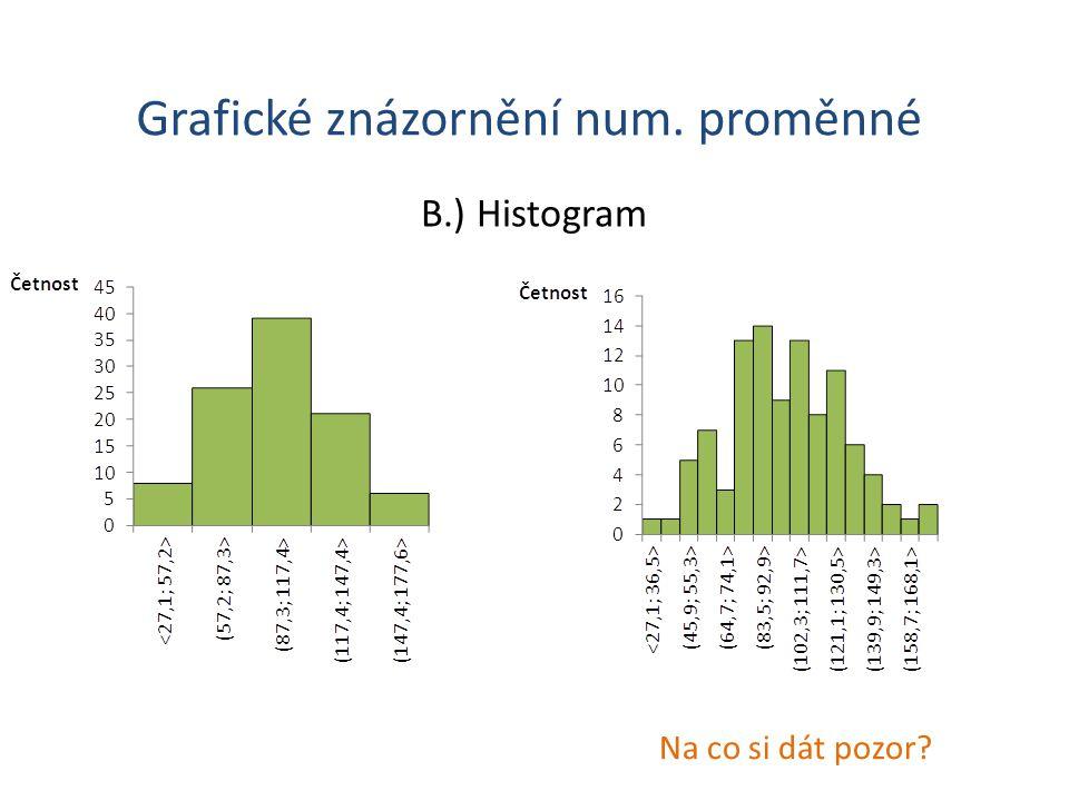 Grafické znázornění num. proměnné B.) Histogram Na co si dát pozor?