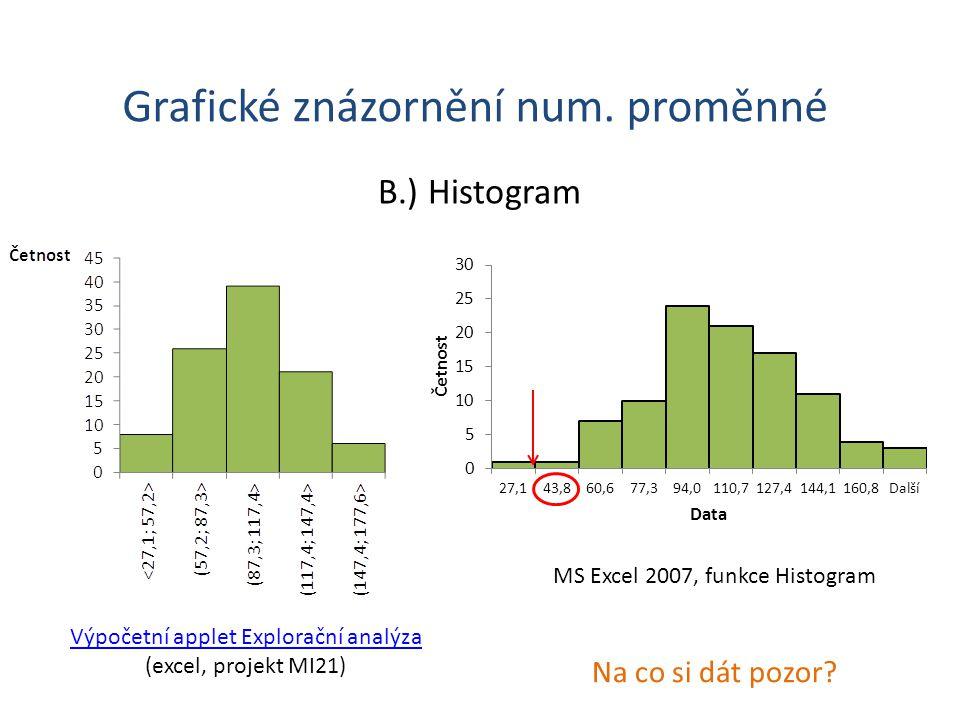 Grafické znázornění num.proměnné B.) Histogram Na co si dát pozor.