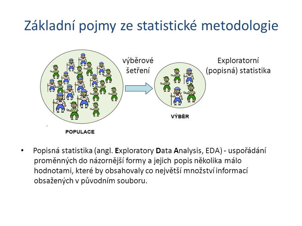 Základní pojmy ze statistické metodologie výběrové šetření Exploratorní (popisná) statistika • Popisná statistika (angl.
