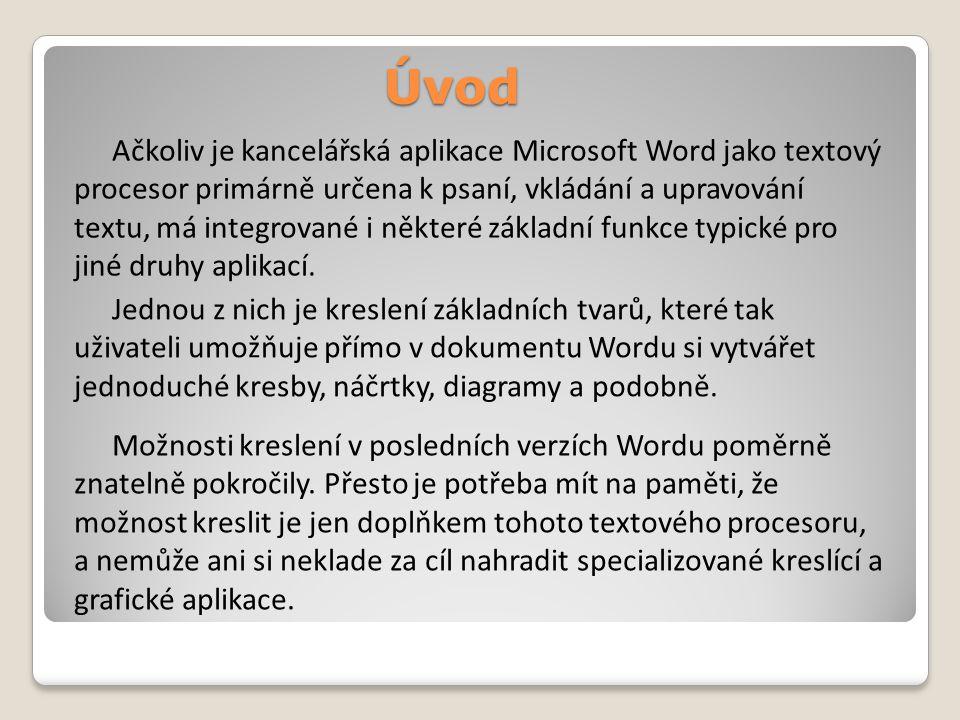Úvod Ačkoliv je kancelářská aplikace Microsoft Word jako textový procesor primárně určena k psaní, vkládání a upravování textu, má integrované i některé základní funkce typické pro jiné druhy aplikací.