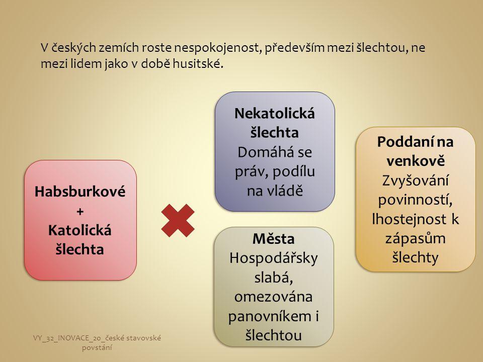V českých zemích roste nespokojenost, především mezi šlechtou, ne mezi lidem jako v době husitské. Habsburkové + Katolická šlechta Habsburkové + Katol