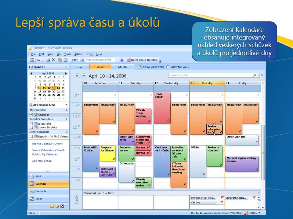 Lepší správa času a úkolů Zobrazení Kalendáře obsahuje integrovaný náhled veškerých schůzek a úkolů pro jednotlivé dny