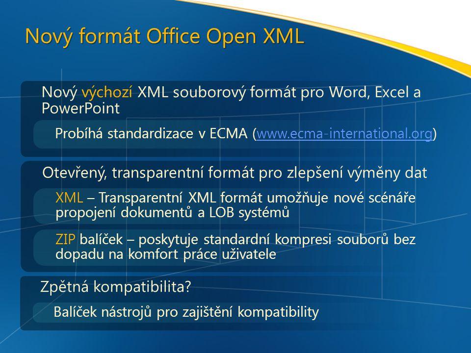 Nový formát Office Open XML Nový výchozí XML souborový formát pro Word, Excel a PowerPoint Probíhá standardizace v ECMA (www.ecma-international.org)www.ecma-international.org Otevřený, transparentní formát pro zlepšení výměny dat XML – Transparentní XML formát umožňuje nové scénáře propojení dokumentů a LOB systémů ZIP balíček – poskytuje standardní kompresi souborů bez dopadu na komfort práce uživatele Zpětná kompatibilita.