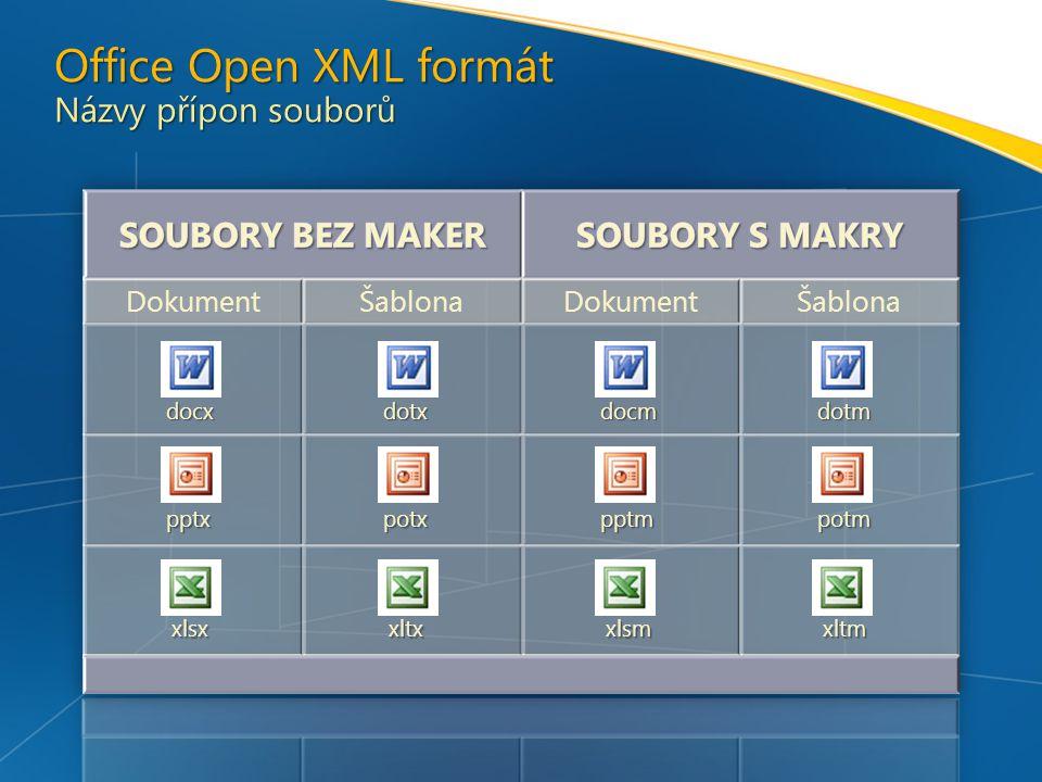 docxdotxdocmdotm pptxpotxpptmpotm xlsxxltxxlsmxltm Office Open XML formát Názvy přípon souborů