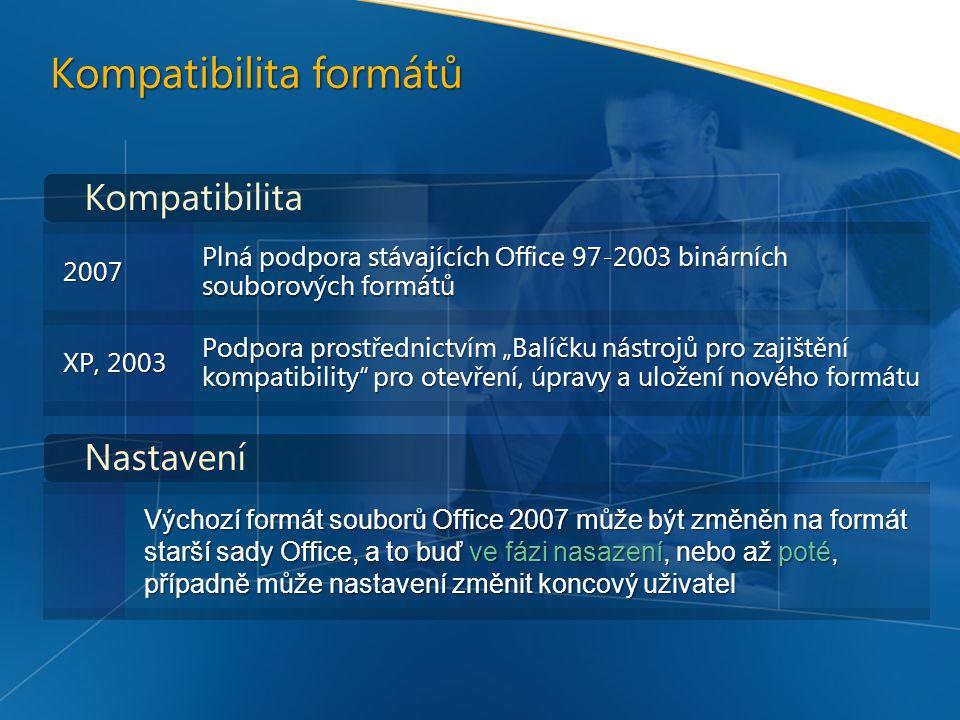 """Kompatibilita formátů Výchozí formát souborů Office 2007 může být změněn na formát starší sady Office, a to buď ve fázi nasazení, nebo až poté, případně může nastavení změnit koncový uživatel Kompatibilita Nastavení 2007 Plná podpora stávajících Office 97-2003 binárních souborových formátů XP, 2003 Podpora prostřednictvím """"Balíčku nástrojů pro zajištění kompatibility pro otevření, úpravy a uložení nového formátu"""