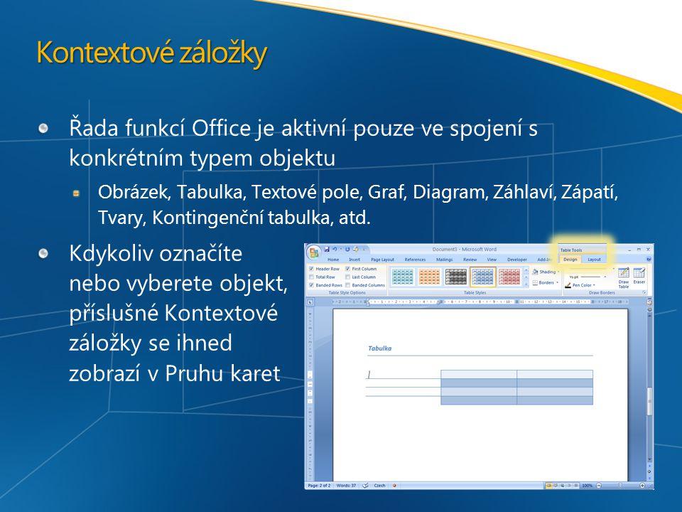 Kontextové záložky Řada funkcí Office je aktivní pouze ve spojení s konkrétním typem objektu Obrázek, Tabulka, Textové pole, Graf, Diagram, Záhlaví, Zápatí, Tvary, Kontingenční tabulka, atd.