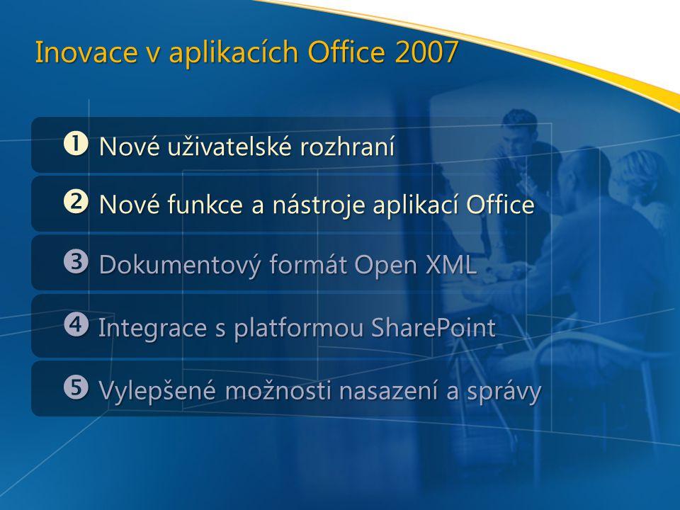 Inovace v aplikacích Office 2007  Nové uživatelské rozhraní  Nové funkce a nástroje aplikací Office  Dokumentový formát Open XML  Integrace s platformou SharePoint  Vylepšené možnosti nasazení a správy