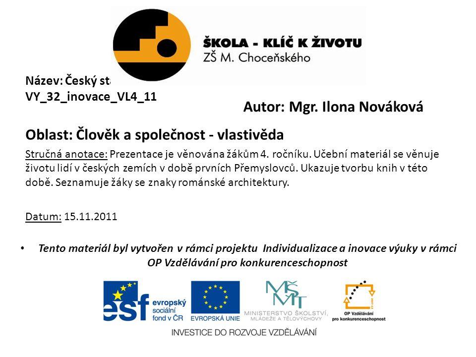 Název: Český stát v 10.a 11.