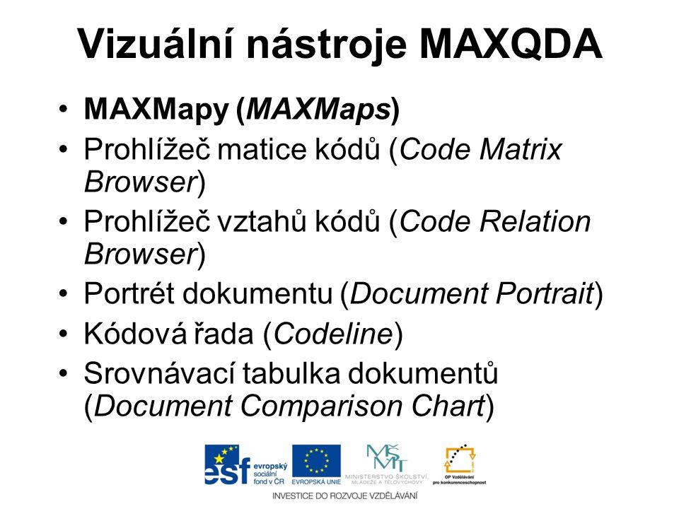 Vizuální nástroje MAXQDA •MAXMapy (MAXMaps) •Prohlížeč matice kódů (Code Matrix Browser) •Prohlížeč vztahů kódů (Code Relation Browser) •Portrét dokum