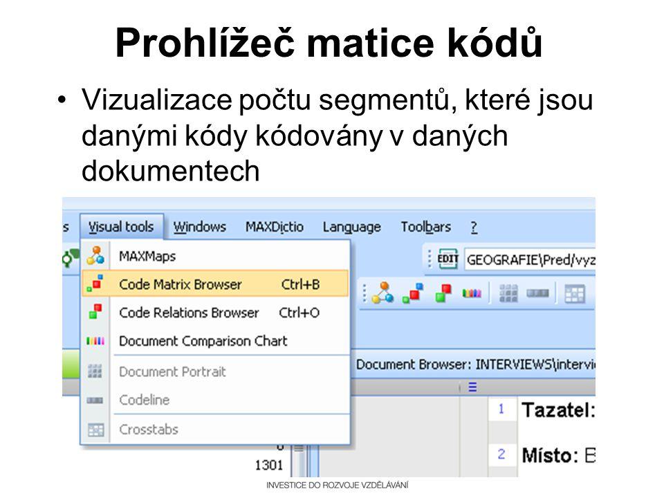 Prohlížeč matice kódů •Vizualizace počtu segmentů, které jsou danými kódy kódovány v daných dokumentech