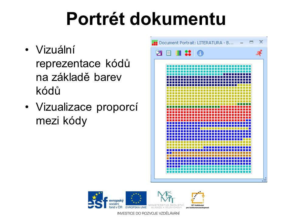 Portrét dokumentu •Vizuální reprezentace kódů na základě barev kódů •Vizualizace proporcí mezi kódy