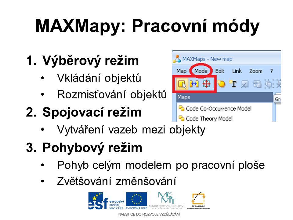 MAXMapy: Pracovní módy 1.Výběrový režim •Vkládání objektů •Rozmisťování objektů 2.Spojovací režim •Vytváření vazeb mezi objekty 3.Pohybový režim •Pohy