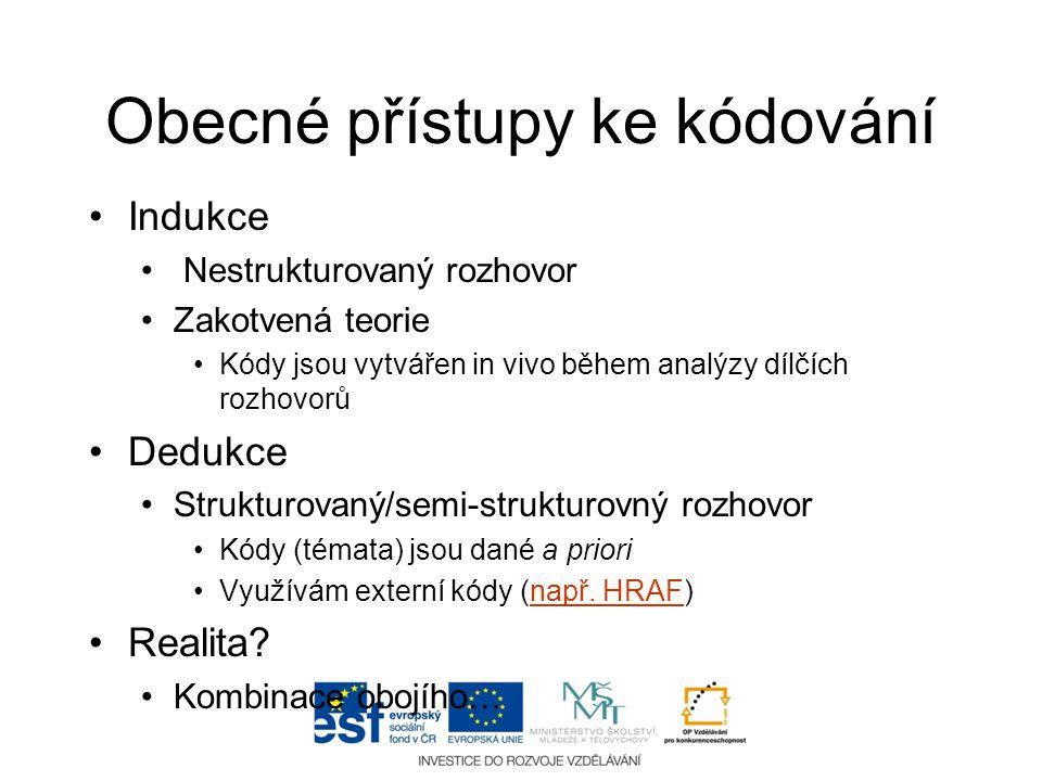 Obecné přístupy ke kódování •Indukce • Nestrukturovaný rozhovor •Zakotvená teorie •Kódy jsou vytvářen in vivo během analýzy dílčích rozhovorů •Dedukce