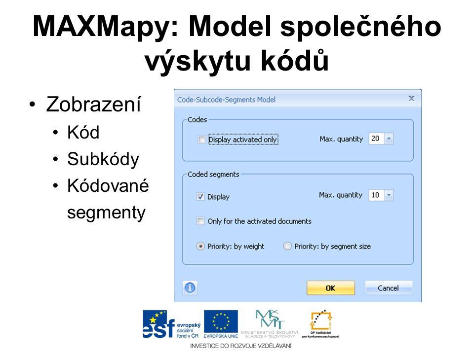 MAXMapy: Model společného výskytu kódů •Zobrazení •Kód •Subkódy •Kódované segmenty