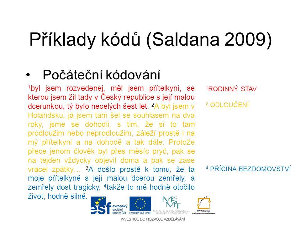 Příklady kódů (Saldana 2009) •Počáteční kódování 1 byl jsem rozvedenej, měl jsem přítelkyni, se kterou jsem žil tady v Český republice s její malou dc