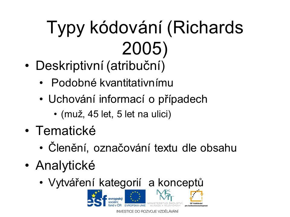 Typy kódování (Richards 2005) •Deskriptivní (atribuční) • Podobné kvantitativnímu •Uchování informací o případech •(muž, 45 let, 5 let na ulici) •Tema