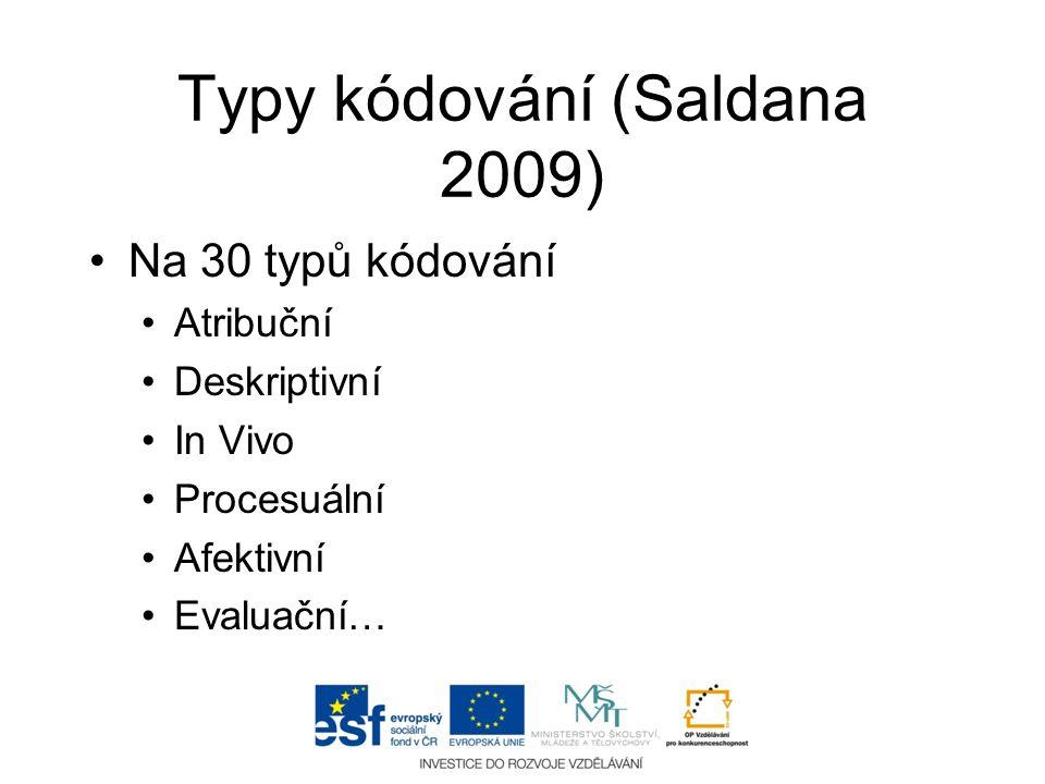 Typy kódování (Saldana 2009) •Na 30 typů kódování •Atribuční •Deskriptivní •In Vivo •Procesuální •Afektivní •Evaluační…